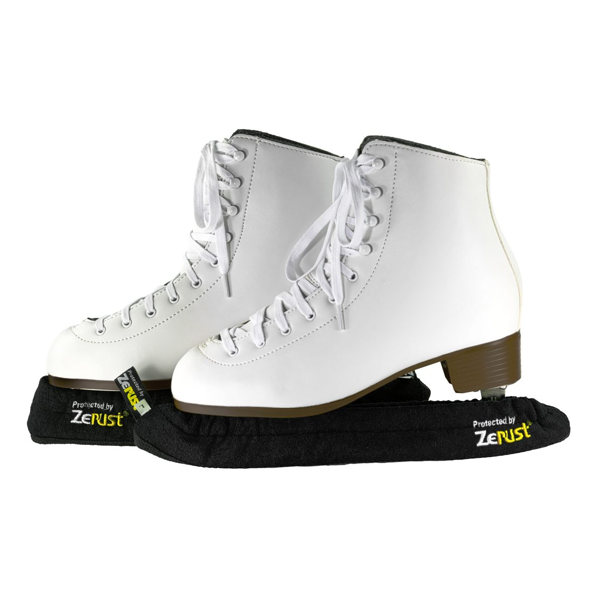 A pair of ice skates with blades covered by Zerust's skate covers.