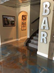 epoxy basement flooring home bar